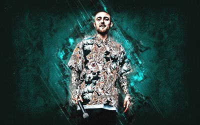 Mac Miller, american rapper, portrait, turquoise stone background, Easy Mac, Malcolm James McCormick