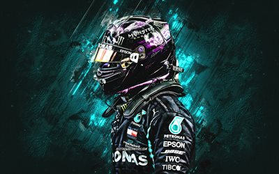 Lewis Hamilton, British racing driver, Formula 1, Mercedes AMG Petronas Motorsport, F1, blue stone background