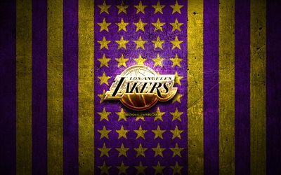 Los Angeles Lakers flag, NBA, violet yellow metal background, american basketball club, Los Angeles Lakers logo, USA, basketball, LA Lakers, golden logo, Los Angeles Lakers