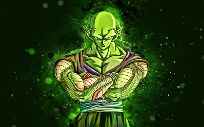 Piccolo, 4k, green neon lights, Dragon Ball, warrior, Dragon Ball Super, DBS, Piccolo DBS, DBS characters