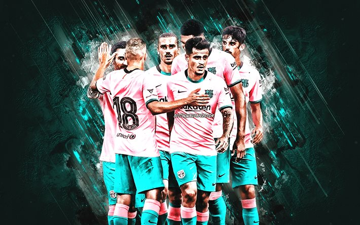 FC Barcelona, Catalan Football Club, pink Barcelona uniform, Lionel Messi, Antoine Griezmann, Jordi Alba, Philippe Coutinho, Carles Alena, Francisco Trincao, turquoise stone background, football