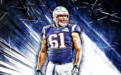 4k, Marcus Cannon, grunge art, NFL, New England Patriots, blue abstract rays, Marcus Darell Cannon, artwork, Marcus Cannon New England Patriots, Marcus Cannon 4K