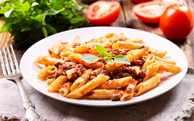 pasta with meat, pasta, tomatoes, plate of pasta, meat dishes
