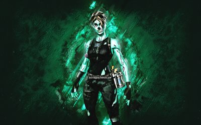 Fortnite Ghoul Trooper Skin, Fortnite, main characters, blue stone background, Ghoul Trooper, Fortnite skins, Ghoul Trooper Skin, Ghoul Trooper Fortnite, Fortnite characters