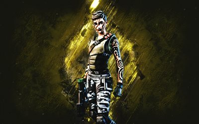 Fortnite Maya Skin, Fortnite, main characters, yellow stone background, Maya, Fortnite skins, Maya Skin, Maya Fortnite, Fortnite characters