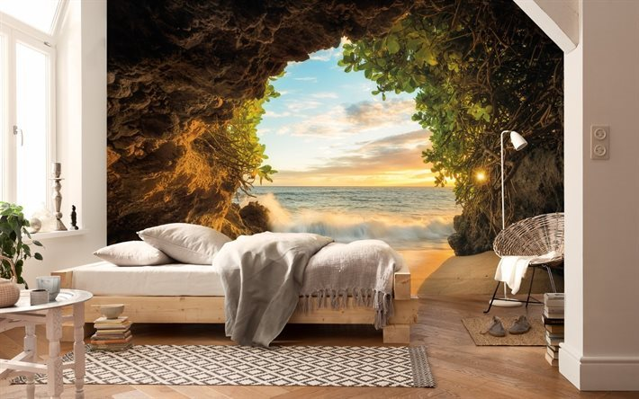 bedroom interior, painting on wall, landscape on wall, picture