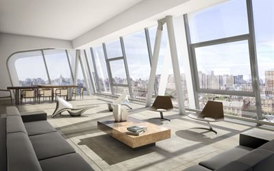 penthouse, modern design, living room, modern furniture