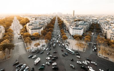 Paris, streets, cars, morning, France