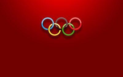 Olympic rings, minimal, olympiad, red background