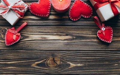 Valentines day, wooden background, February 14, red hearts, gifts, candles, love concepts