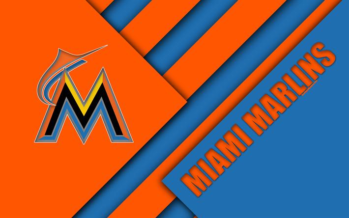 Miami Marlins MLB 4K East Division Blue Orange Abstraction Logo