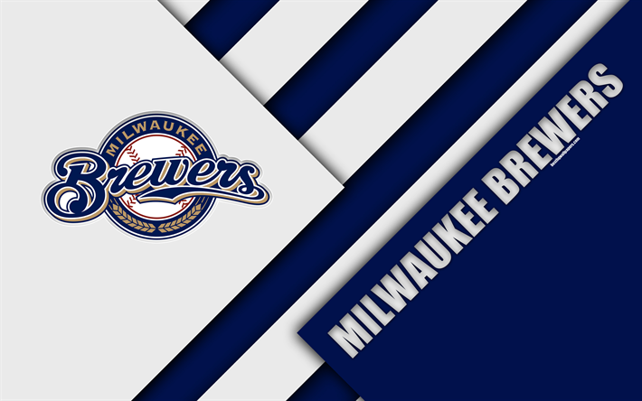 Milwaukee Brewers MLB 4k National League Blue Abstraction Logo Material