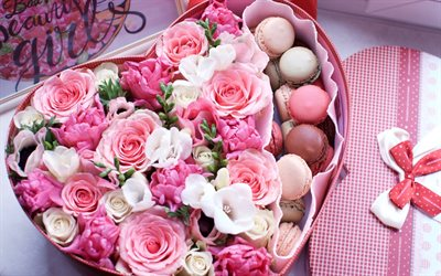 Valentine's Day, romantic gift, roses, heart of flowers, pink roses, chocolate candies, February 14, surprise