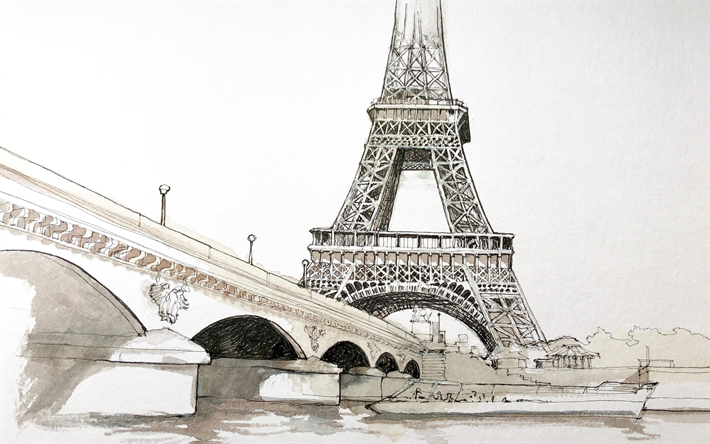 Paris, drawing, Eiffel Tower, Jena Bridge, Seine, landmarks, painted with pencils Paris, cityscape