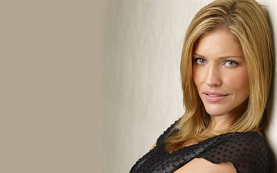 Tricia Helfer, portrait, canadian actress, photoshoot, black dress, beautiful gray eyes, canadian stars