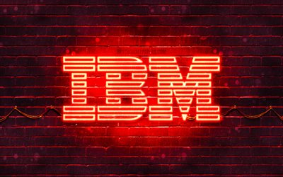 IBM logo rouge, 4k, rouge brickwall, IBM, le logo, les marques, IBM néon logo