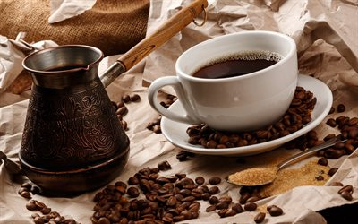 cup of coffee, coffee beans, Cezve, Turkish coffee, white cup, coffee concepts