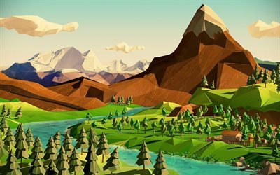 abstract 3D landscape, mountains, forest, river, low poly landscape, abstract nature, low poly art