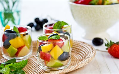 fruit salad, tomorrow, fruit in a glass, food, diet concepts, fruit