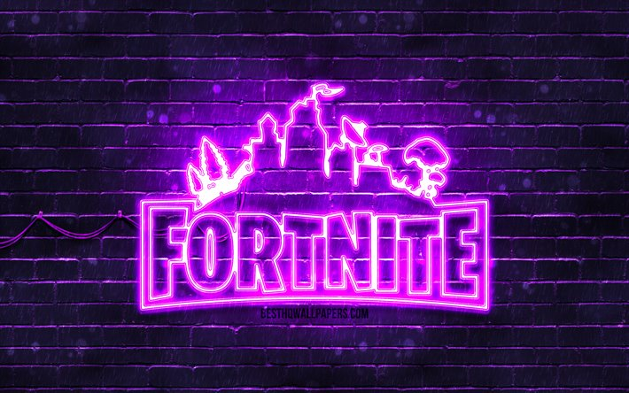 Fortnite violet logo, 4k, violet brickwall, Fortnite logo, 2020 games, Fortnite neon logo, Fortnite
