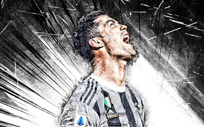 Cristiano Ronaldo, 2020, grunge art, Juventus FC, CR7, portuguese footballers, Italy, Bianconeri, soccer, goal, football stars, Serie A, neon lights, CR7 Juve