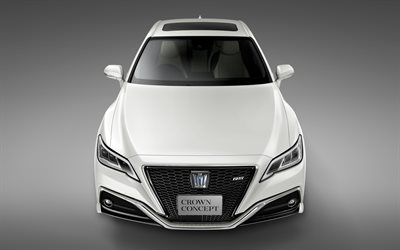 Toyota Crown, 2018, Concept, 4k, front view, luxury cars, white Crown, Japanese cars, Toyota