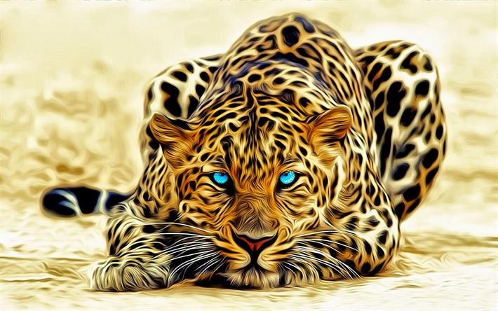 thumb2 4k leopard 3d art blue eyes predators