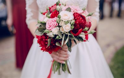wedding bouquet, bride, wedding concepts, white wedding dress, roses, red peonies