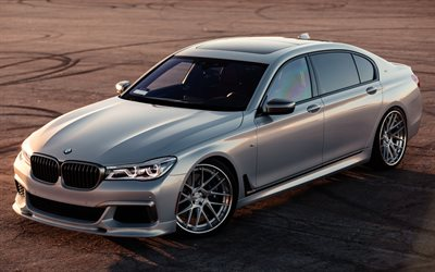 BMW M760Li, 2017, Silver M7, BMW G12, luxury sedan, tuning G12, German cars, silver M7, BMW