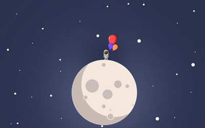 astronaut, moon, bubble, space, minimal