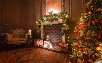 Christmas interior, evening, fireplace, Christmas tree, decorations, Christmas, New Year