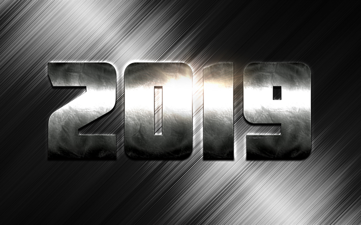 2019 year steel numbers new year 2019 concepts silver metal background
