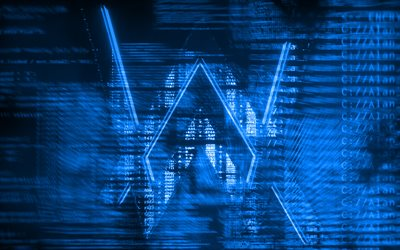Alan Walker logo blu, creativo, arte digitale, superstar, Alan Walker logo, star della musica, Alan Walker