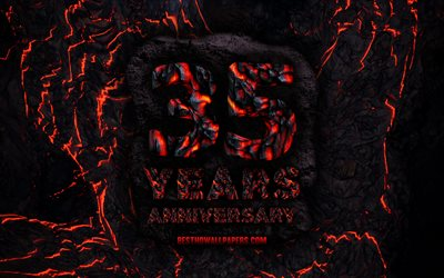 4k, 35 Years Anniversary, fire lava letters, 35th anniversary sign, 35th anniversary, grunge background, anniversary concepts