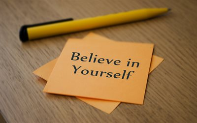 Believe in yourself, motivation quotes, inspiration, paper notes, orange paper sheets