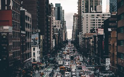 New York, autumn, cityscape, street, New York City cityscape, USA, city traffic concepts, traffic jam