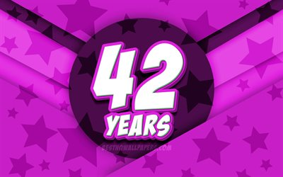 4k, Happy 42 Years Birthday, comic 3D letters, Birthday Party, purple stars background, Happy 42nd birthday, 42nd Birthday Party, artwork, Birthday concept, 42nd Birthday
