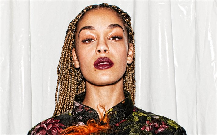 Jorja Smith, portrait, makeup, british singer, photoshoot, dress with flowers, popular singers