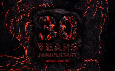 4k, 30 Years Anniversary, fire lava letters, 30th anniversary sign, 30th anniversary, grunge background, anniversary concepts