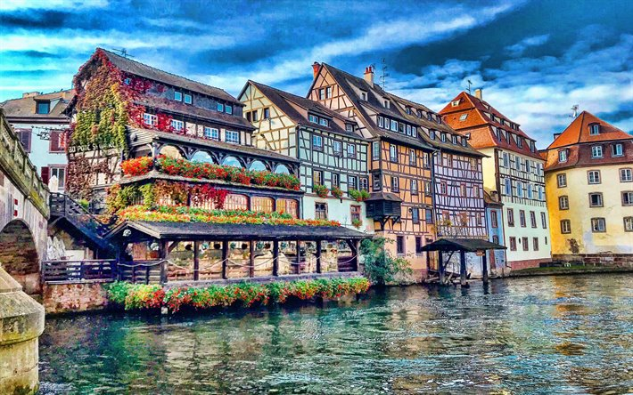 Strasbourg, evening, sunset, beautiful houses, Strasbourg cityscape, Grand Est, Bas-Rhin, France