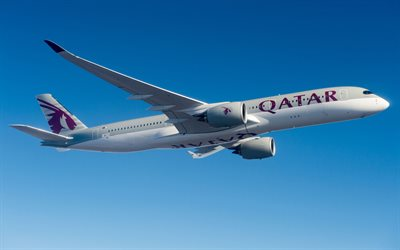 Airbus A350-900, passenger plane, Qatar Airways, air travel, Airbus A350 XWB, modern airplanes, Airbus