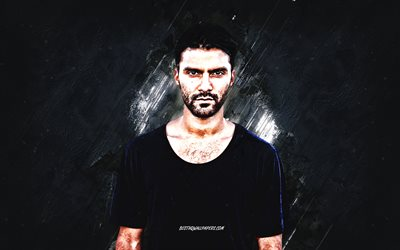 R3hab, Fadil El Ghoul, portrait, dutch dj, blue stone background, creative art, popular dj