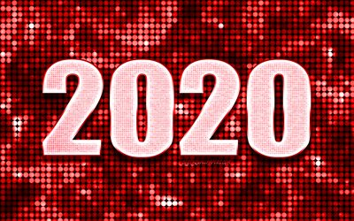 Red 2020 background, Happy New Year 2020, Red abstract background, 2020 concepts, 2020 New Year, Red 2020 metal art