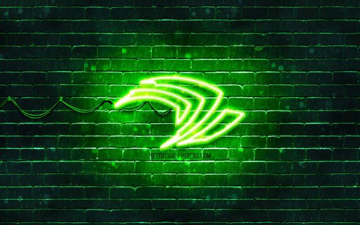 Download Wallpapers Nvidia Green Logo 4k Green Brickwall