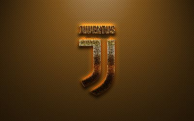 Juventus FC, Italian football club, Turin, Italy, Juventus gold glitter logo, emblem, Serie A, Juventus logo, golden background