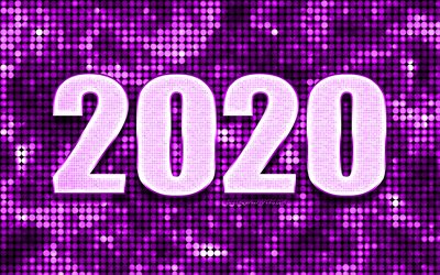Purple 2020 background, Happy New Year 2020, Purple abstract background, 2020 concepts, 2020 New Year, Purple 2020 metal art