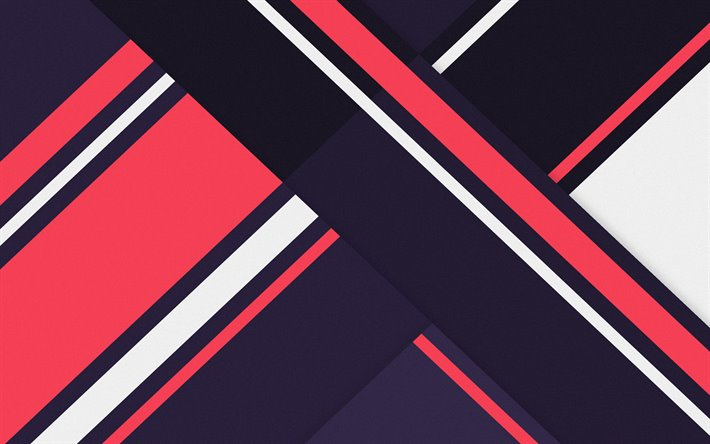 4k, material design, pink and violet, geometric shapes, lines, lollipop, geometry, creative, strips, purple backgrounds, abstract art