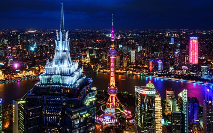 4k, Shanghai, night city, metropolis, nightscapes, skyscrapers, China, Asia