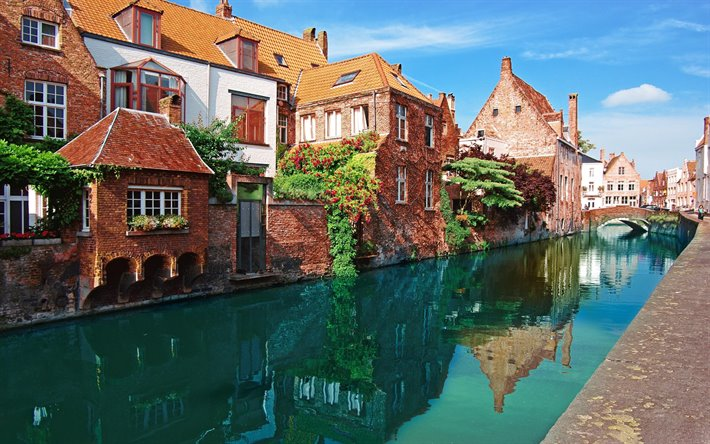 Bruges, canal, beautiful city, morning, cityscape, Belgium, Europe