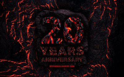 4k, 20 Years Anniversary, fire lava letters, 20th anniversary sign, 20th anniversary, grunge background, anniversary concepts